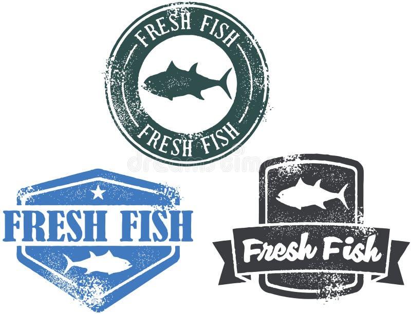 Sellos de los mariscos de los pescados frescos de la vendimia ilustración del vector