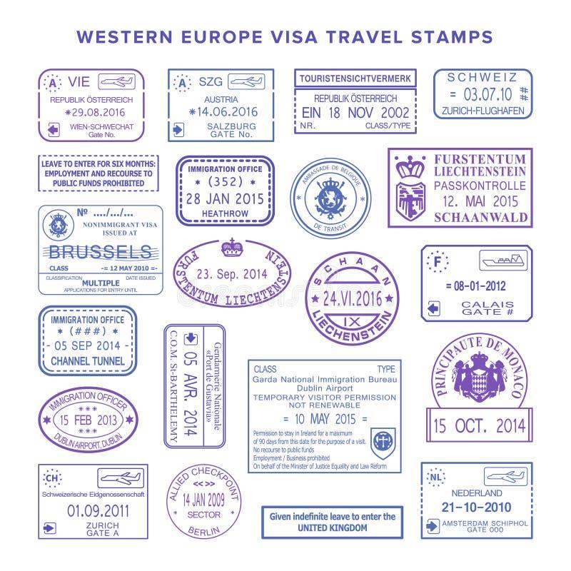 Sellos de visa comunes occidentales del viaje de Europa del vector fijados ilustración del vector