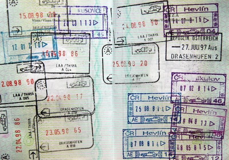 Sellos de visa del pasaporte del mundo imagen de archivo libre de regalías