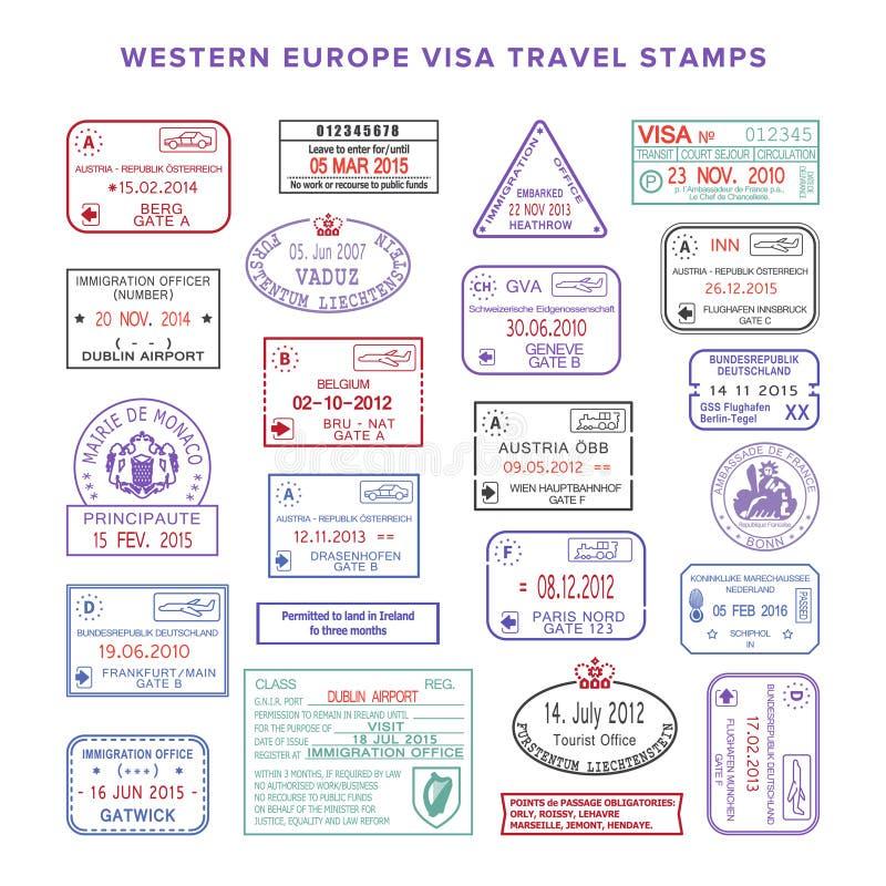 Sellos de visa del viaje del color de Europa occidental del vector fijados ilustración del vector