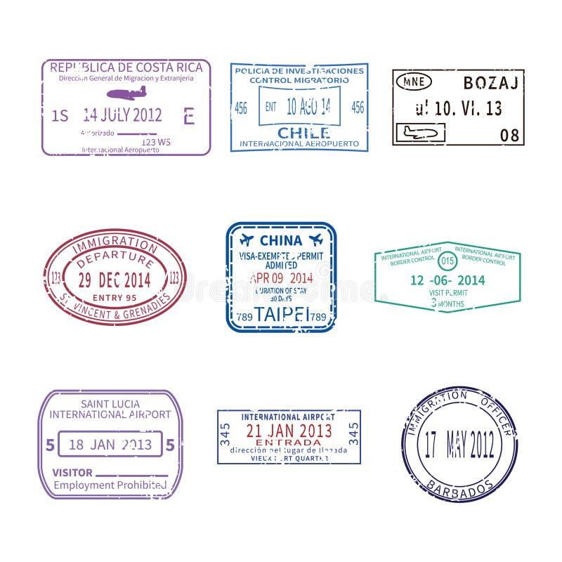 Sellos de visa del viaje internacional del vector para el sistema del pasaporte ilustración del vector