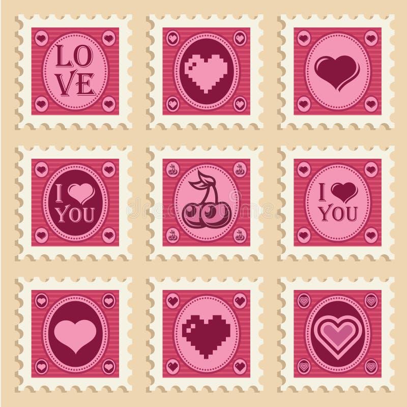 Sellos del corazón de la tarjeta del día de San Valentín stock de ilustración