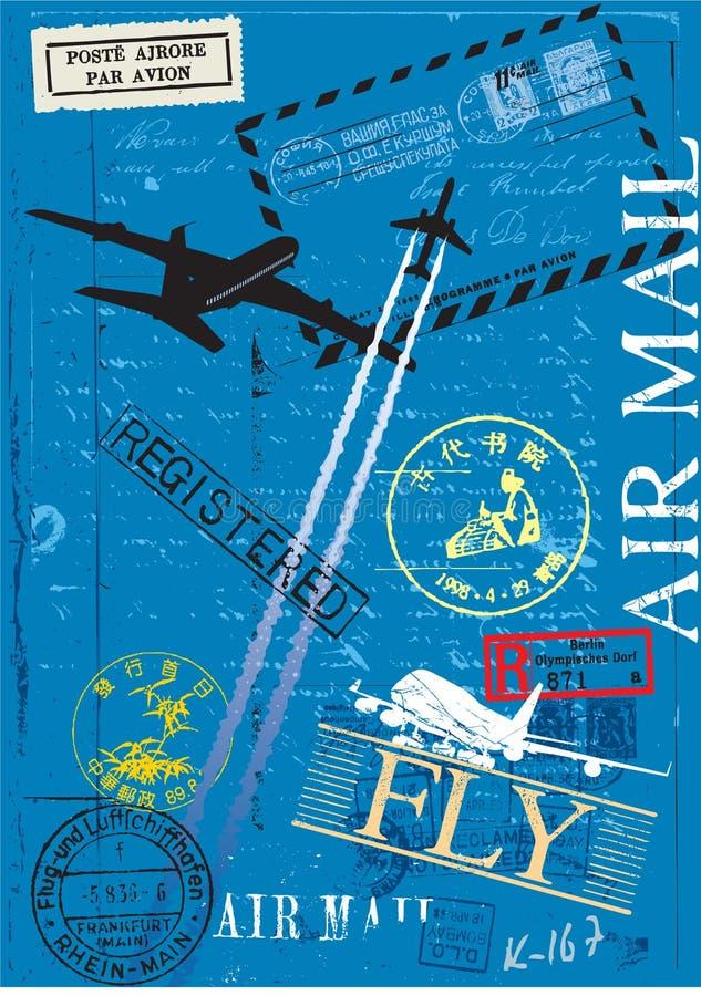 Sellos del correo aéreo ilustración del vector