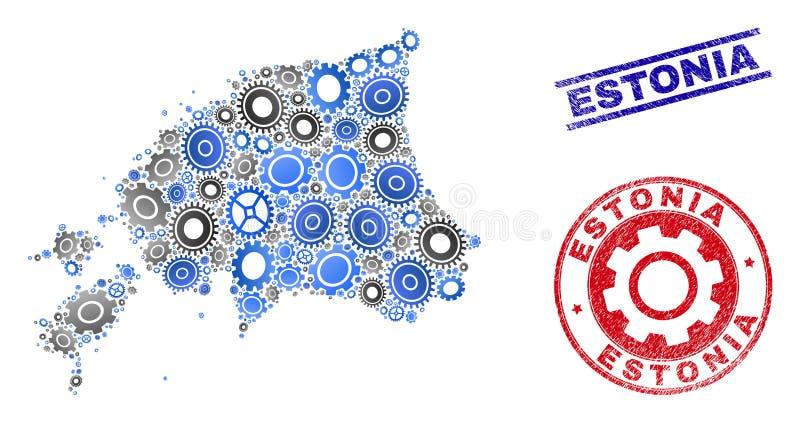 Sellos del mapa y del Grunge de Estonia del vector del mosaico de los mecánicos stock de ilustración