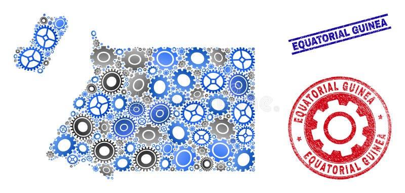 Sellos del mapa y del Grunge de la Guinea Ecuatorial del vector del mosaico de los mecánicos stock de ilustración