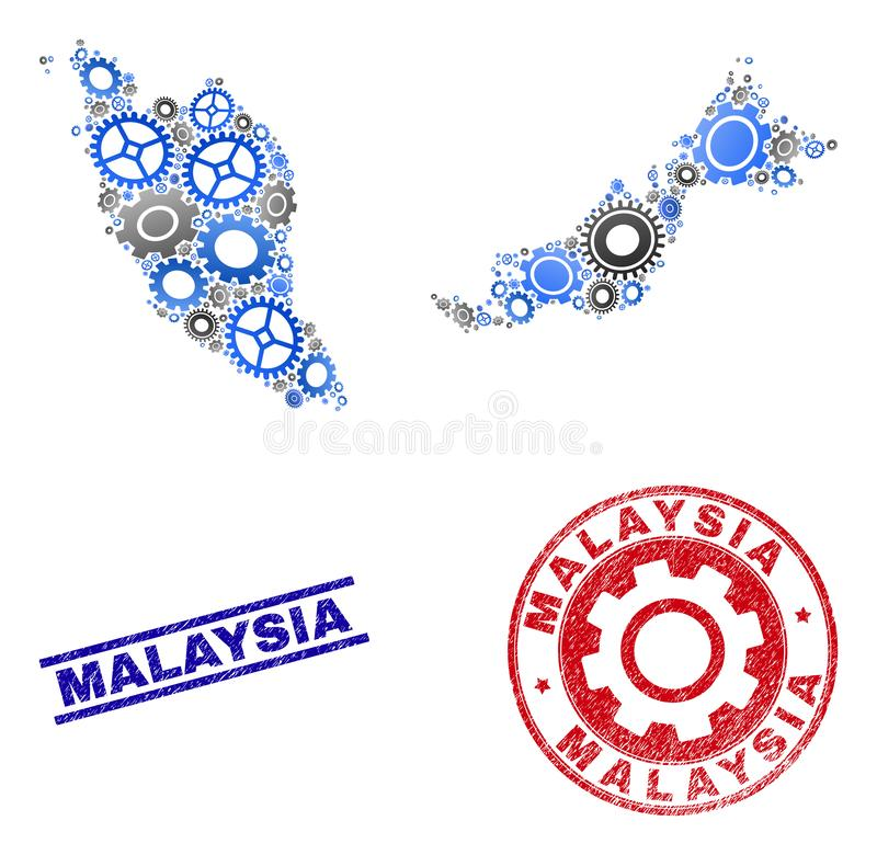 Sellos del mapa y del Grunge de Malasia del vector del collage de los mecánicos ilustración del vector