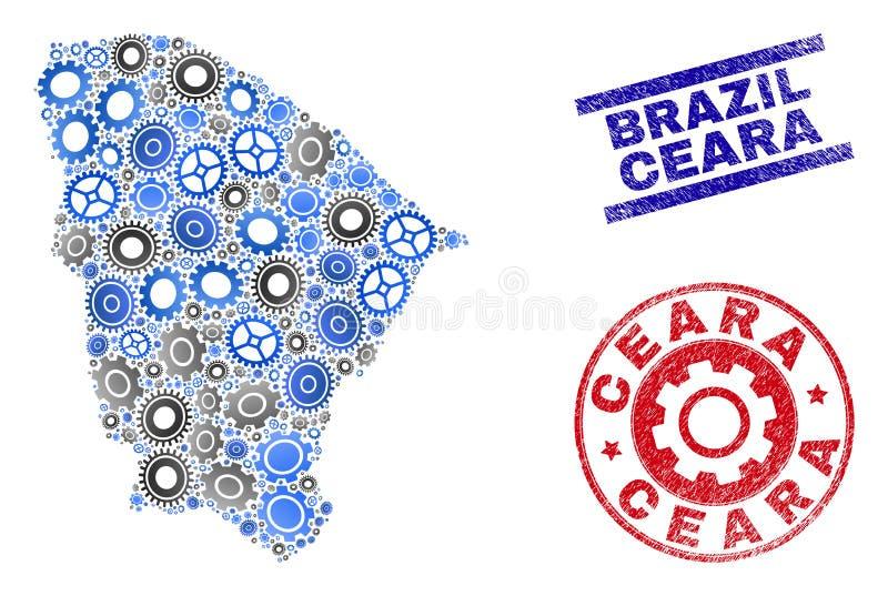 Sellos del mapa y del Grunge del estado de Ceara del vector del mosaico de la rueda libre illustration