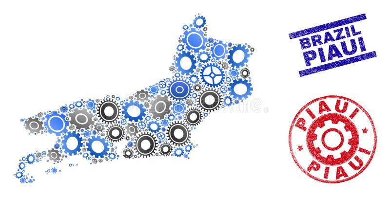 Sellos del mapa y del Grunge del estado de Piaui del vector del collage de los mecánicos ilustración del vector