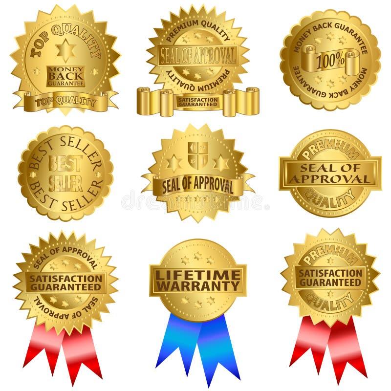 Sellos del oro stock de ilustración