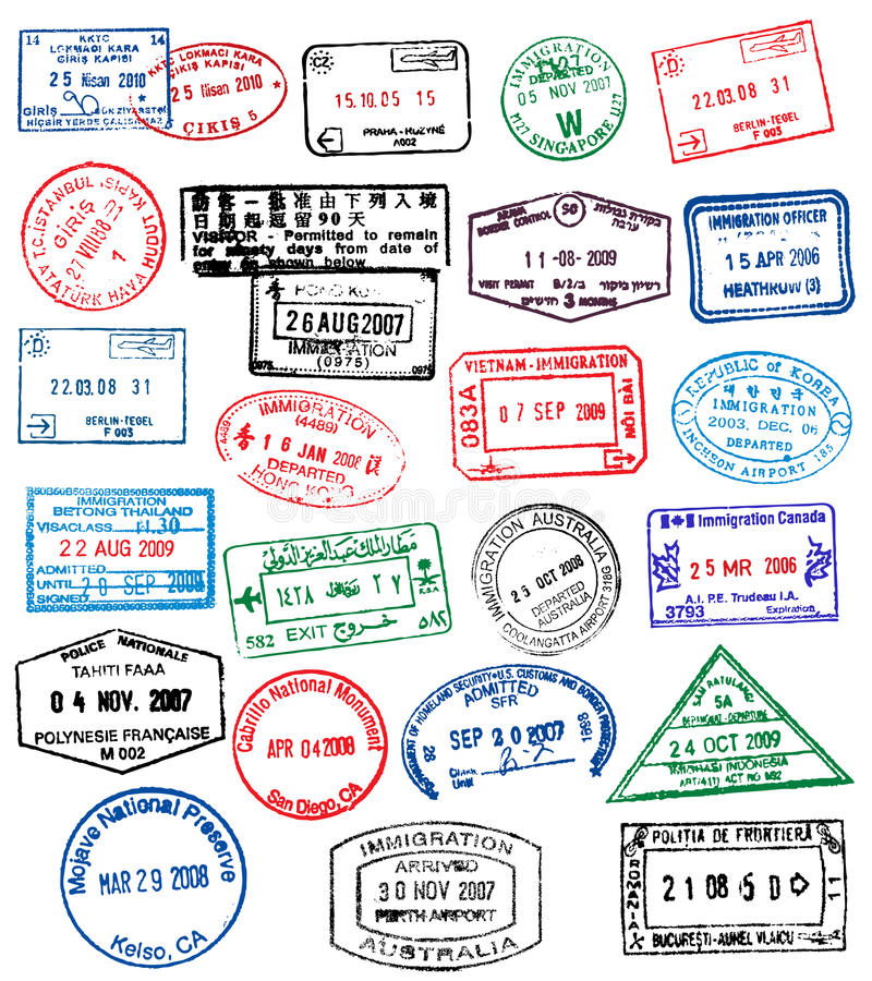 Sellos del pasaporte libre illustration