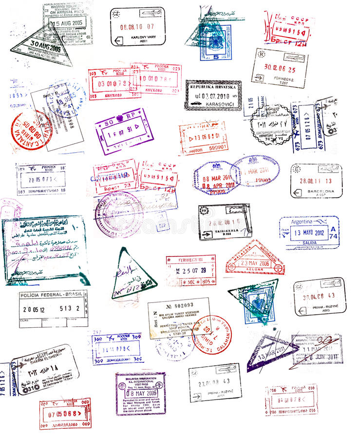 Sellos del pasaporte ilustración del vector
