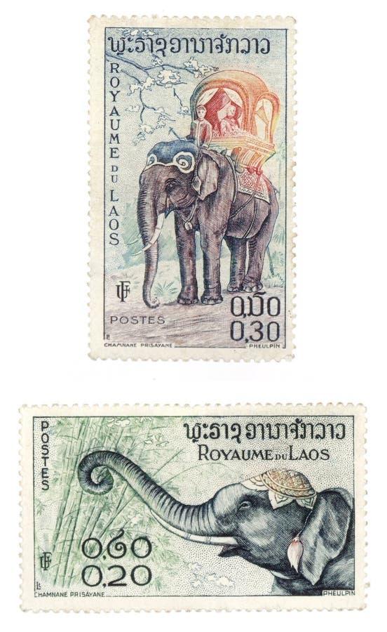 Sellos del poste con los elefantes de Laos foto de archivo libre de regalías