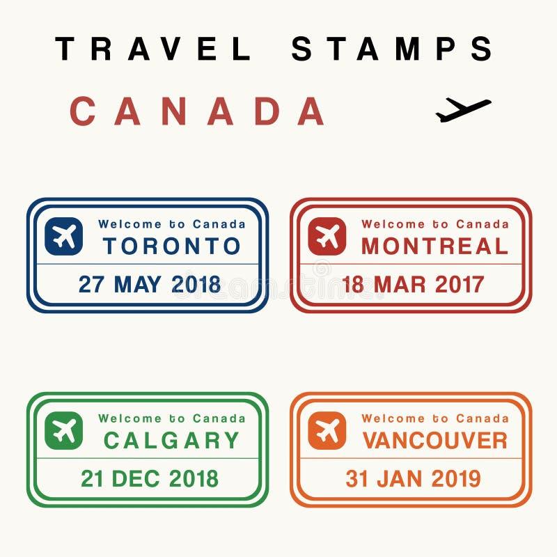 Sellos del viaje de Canadá ilustración del vector