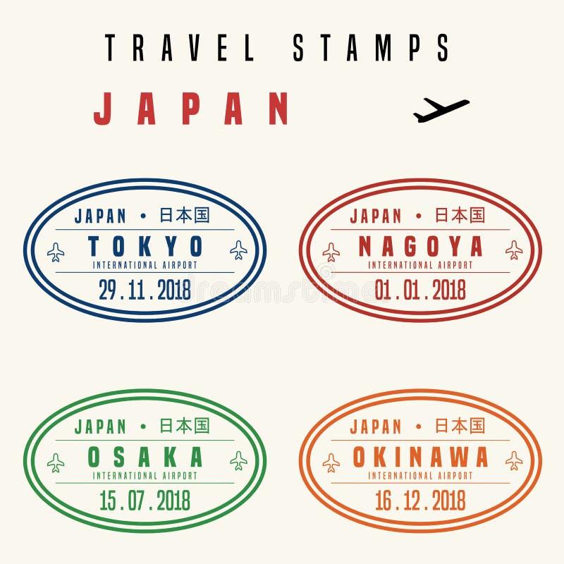 Sellos del viaje de Japón ilustración del vector