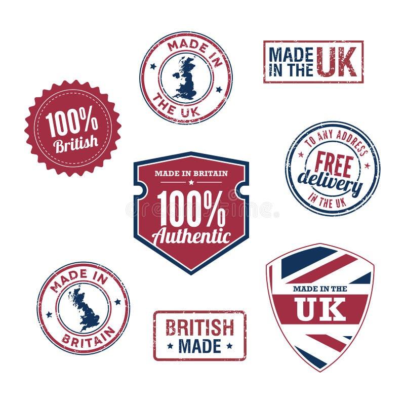 Sellos e insignias de Reino Unido ilustración del vector