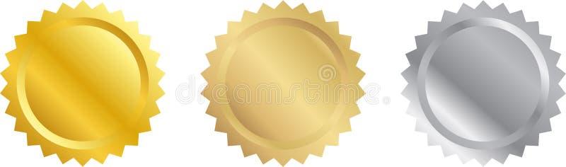 Sellos en blanco del certificado ilustración del vector