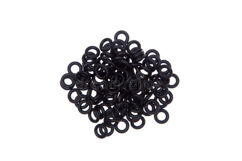 Sellos, juntas y anillos o aislados en blanco fotografía de archivo