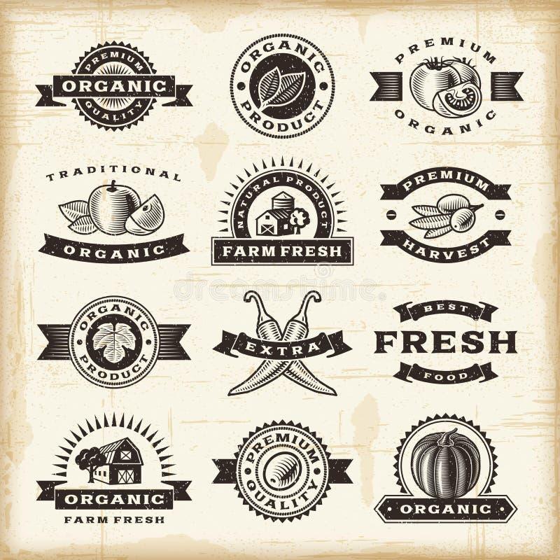 Sellos orgánicos de la cosecha del vintage fijados ilustración del vector