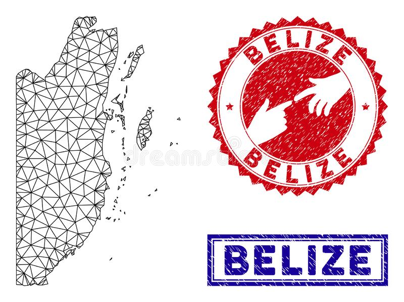 Sellos poligonales del mapa y del Grunge de Belice de la red stock de ilustración