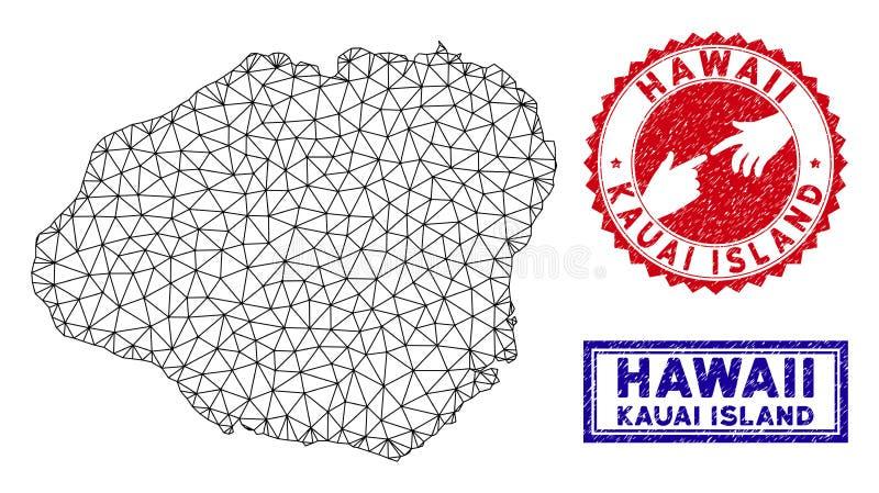 Sellos poligonales del mapa y del Grunge de la isla de Kauai de la red ilustración del vector