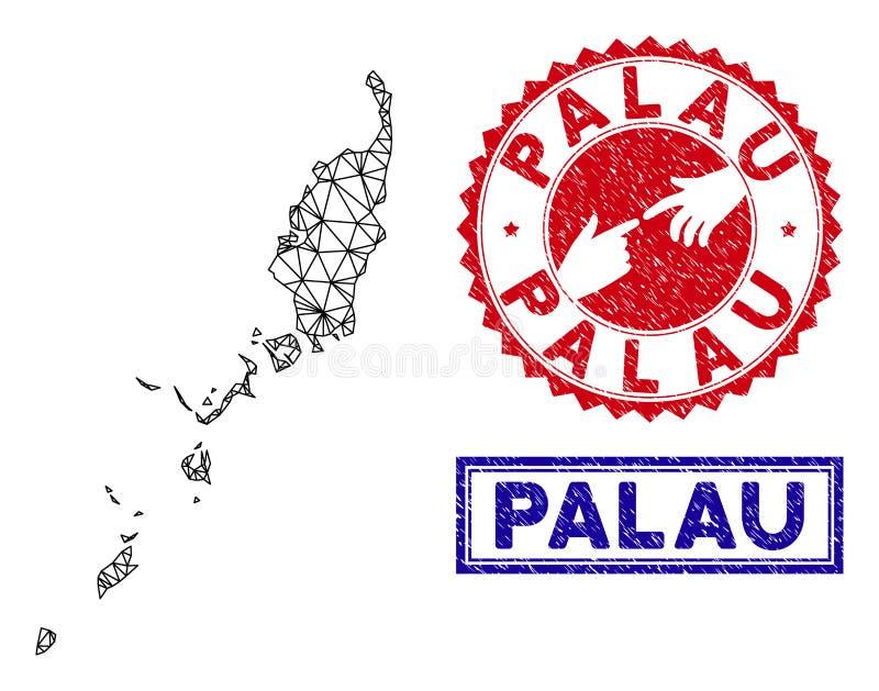 Sellos poligonales del mapa y del Grunge de Palau de la red libre illustration
