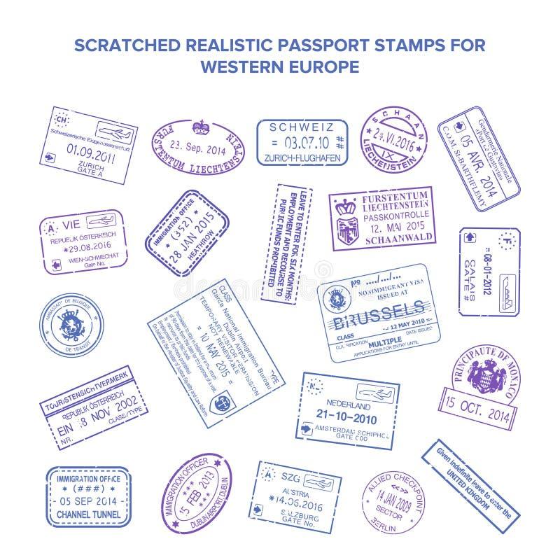 Sellos rasguñados del viaje de la visa del vector aislados en blanco stock de ilustración