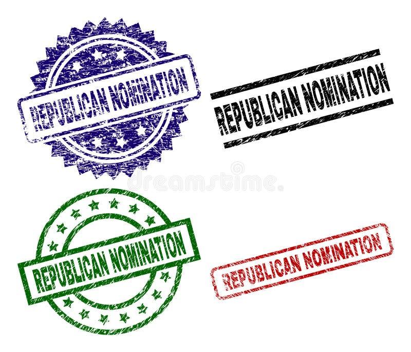 Sellos REPUBLICANOS texturizados rasguñados del sello del NOMBRAMIENTO ilustración del vector