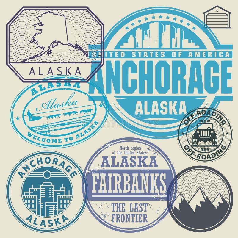 Sellos retros del vintage Alaska, Anchorage libre illustration