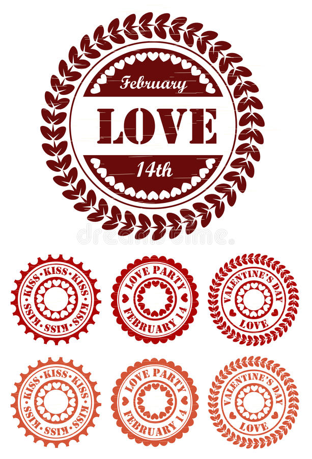 Sellos rojos del vintage para el día de San Valentín stock de ilustración