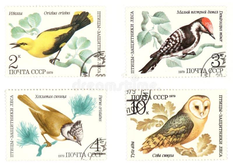 Sellos soviéticos del poste de la antigüedad con los pájaros ilustración del vector