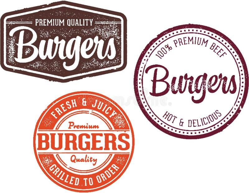 Sellos superiores del diseño del menú del restaurante de la hamburguesa fotos de archivo