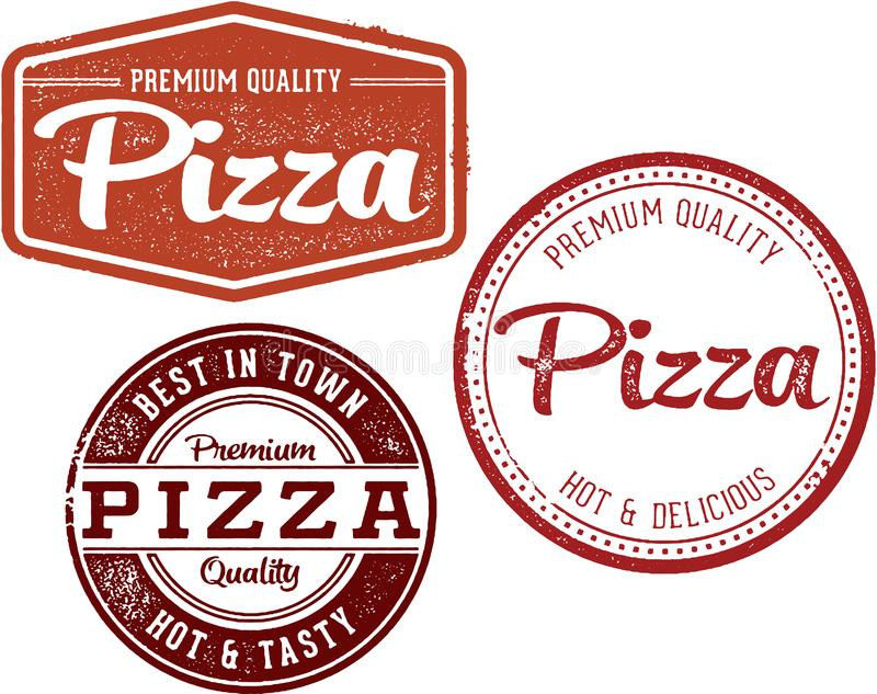Sellos superiores del diseño del menú del restaurante de la pizza fotos de archivo libres de regalías