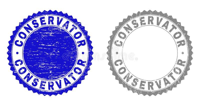 Sellos texturizados CONSERVADOR del sello del Grunge ilustración del vector