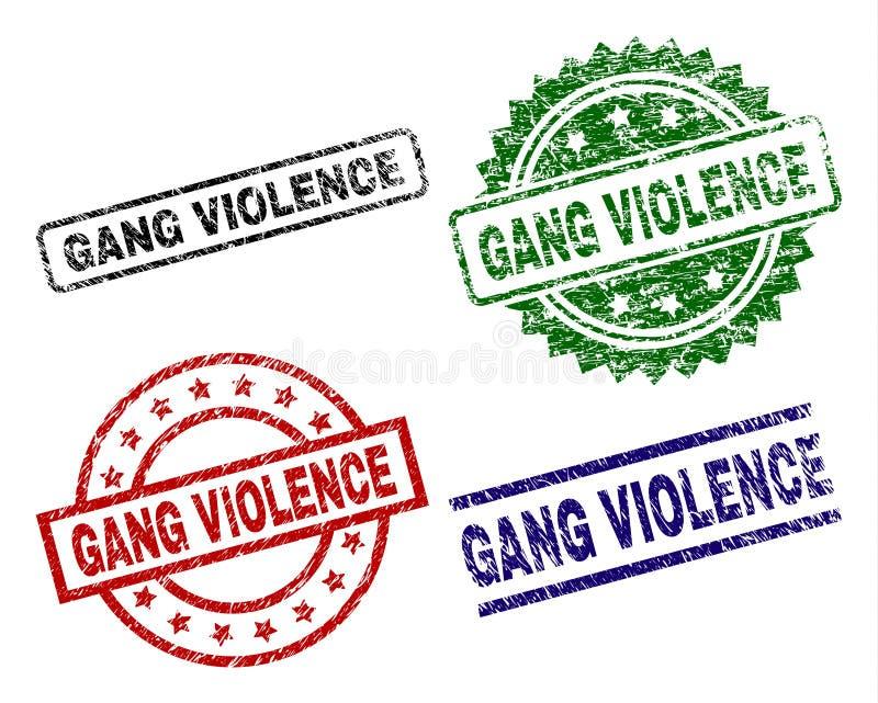 Sellos texturizados dañados del sello de la VIOLENCIA de la CUADRILLA ilustración del vector