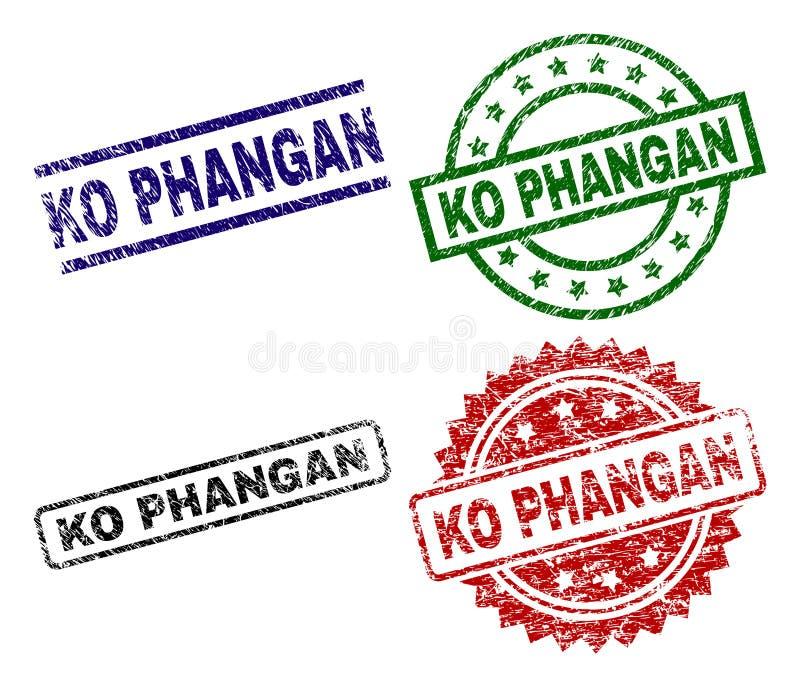 Sellos texturizados dañados del sello del knock-out PHANGAN stock de ilustración