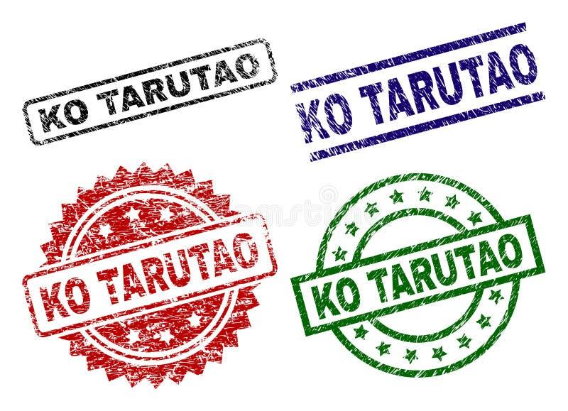 Sellos texturizados dañados del sello del knock-out TARUTAO stock de ilustración