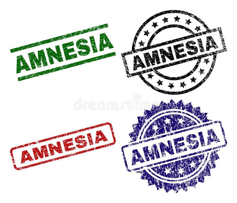 Sellos texturizados rasguñados del sello de la AMNESIA ilustración del vector