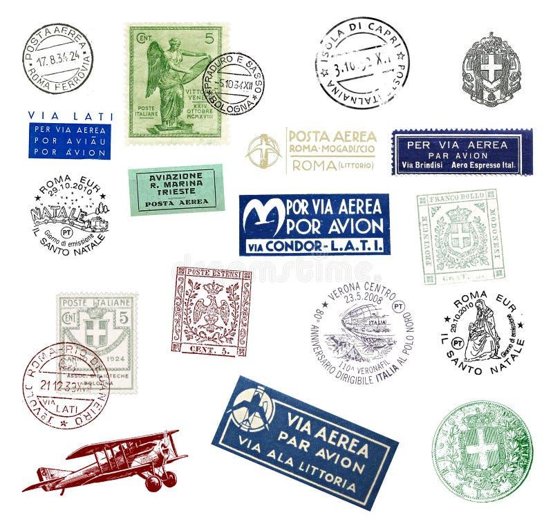 Sellos y etiquetas de Italia ilustración del vector