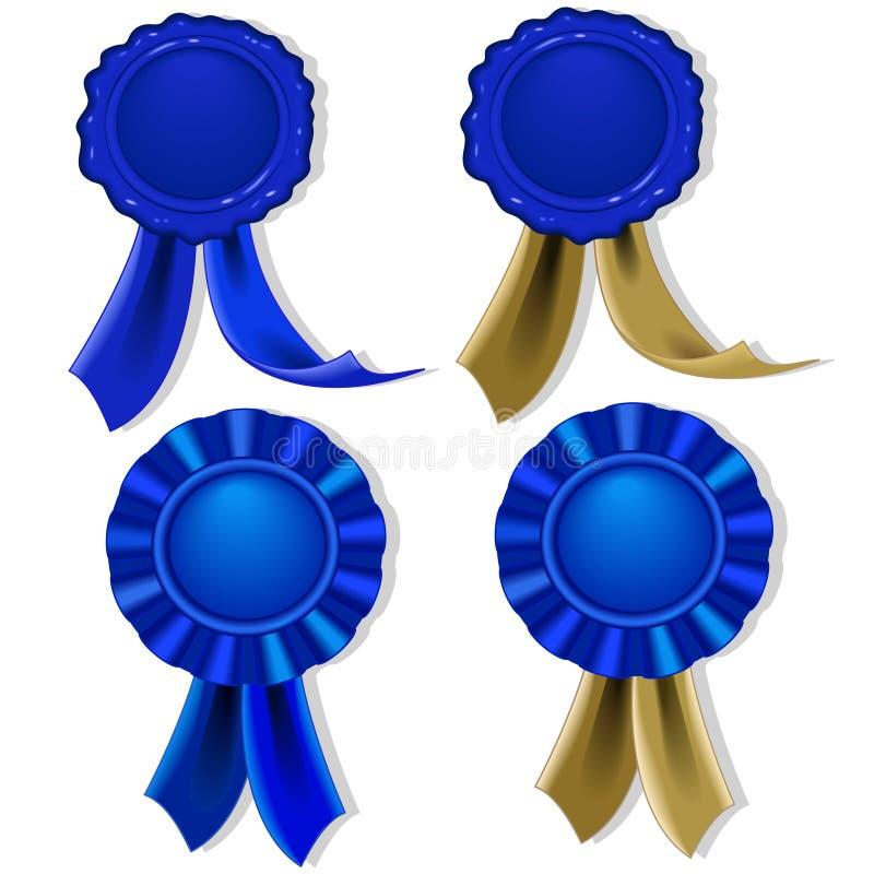 Sellos y medallas en blanco en azul stock de ilustración