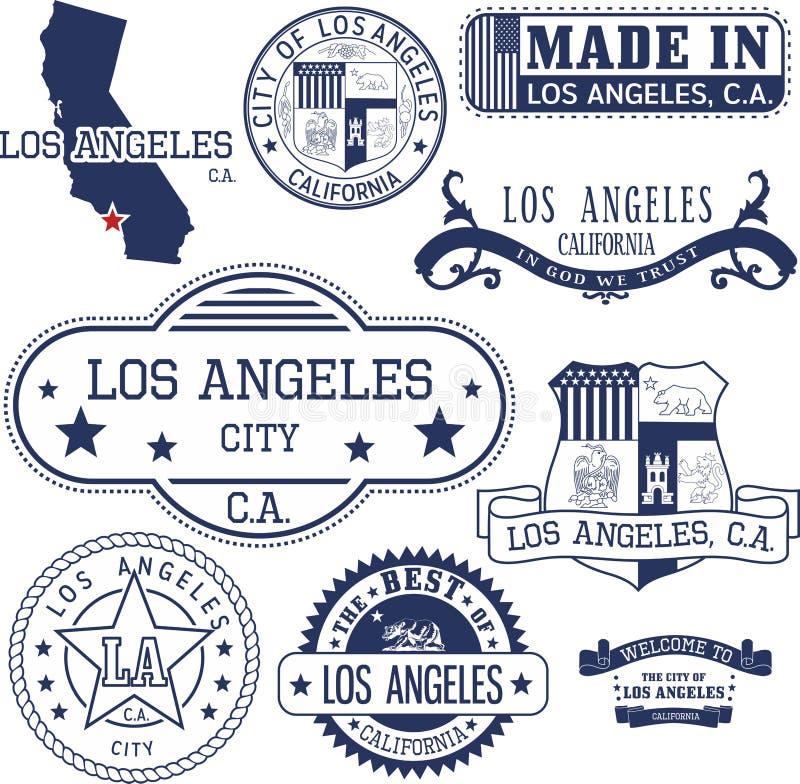Sellos y muestras genéricos de la ciudad de Los Ángeles, CA ilustración del vector