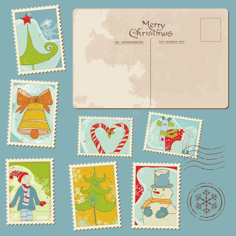 Sellos y postal de la Navidad de la vendimia ilustración del vector