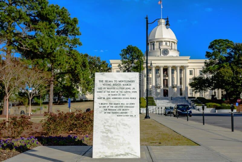 Selma till Montgomery Voting Rights March Marker royaltyfria foton