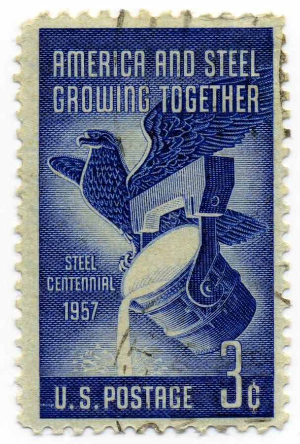 Selo 1957 do vintage de América e de aço imagem de stock royalty free