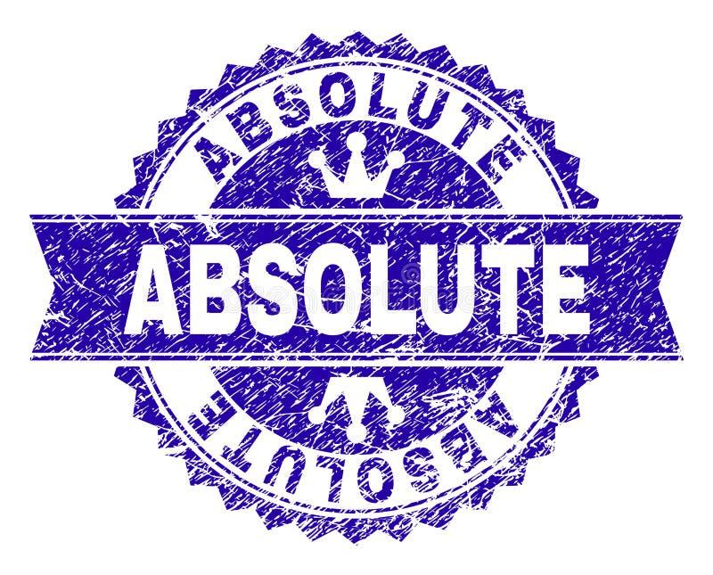 Selo ABSOLUTO Textured riscado do selo com fita ilustração royalty free