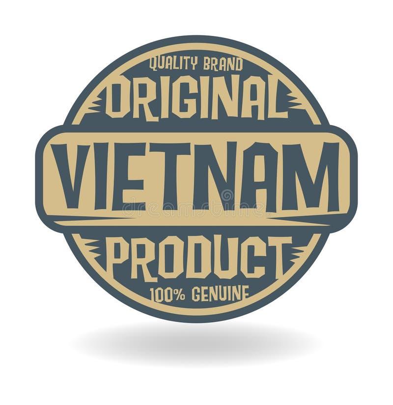 Selo abstrato com o produto original do texto de Vietname ilustração do vetor