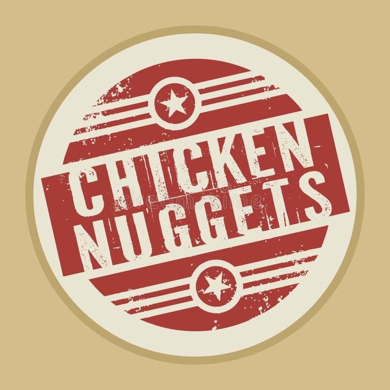 Selo abstrato do vintage do Grunge com as pepitas de galinha do texto ilustração royalty free