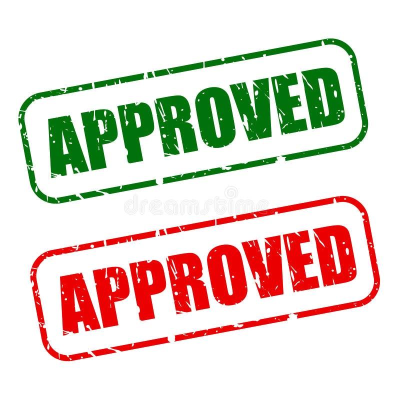 Selo aprovado com texto verde e vermelho ilustração do vetor
