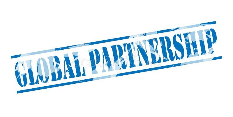 Selo azul da parceria global ilustração do vetor