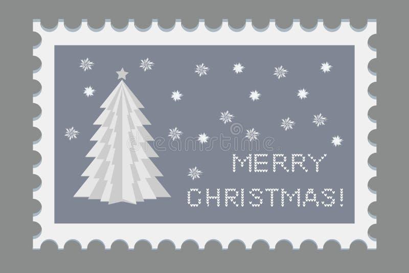 Selo bonito do Natal com símbolos do feriado e elementos da decoração Papel criativo origami Vetor ilustração stock