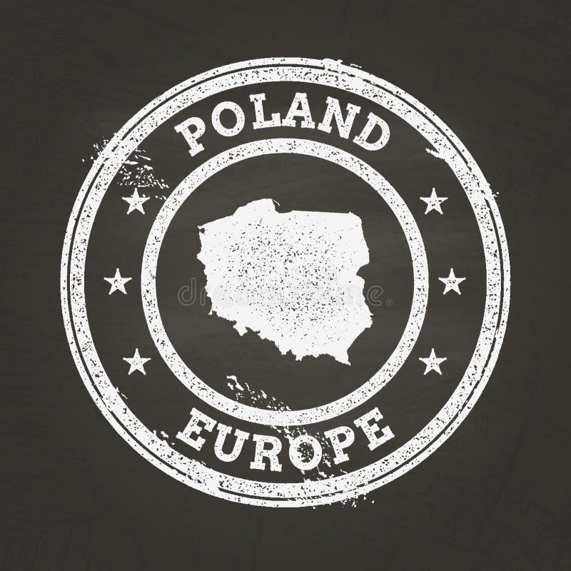 Selo branco do grunge da textura do giz com república de ilustração royalty free